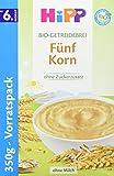 Hipp Bio-Getreidebreie, Fürnf-Korn, 1er Pack (1 x 350g)