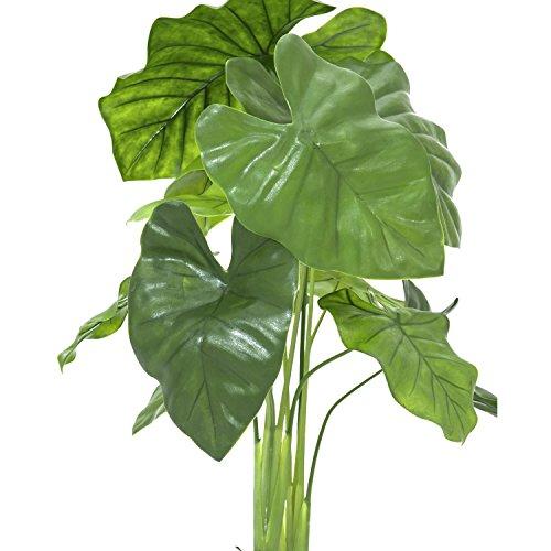 artplants Deko Alocasia Calidora mit 12 Blättern, Dekotopf, grün, 90 cm, wetterfest – Kunstpflanze/Grüne Pflanze künstlich