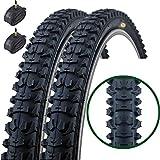 Fincci Coppia di ibrido MTB mountain bike bicicletta pneumatici 26 x 1.95 54-559 e Presta camere d' aria