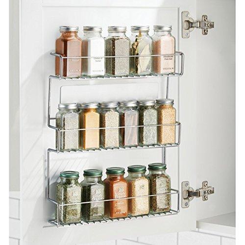 mDesign Especiero de cocina autoadhesivo AFFIXX – Estanterías metálicas para especias con tres estantes – Práctico organizador de especias de color plateado – Metal - 2