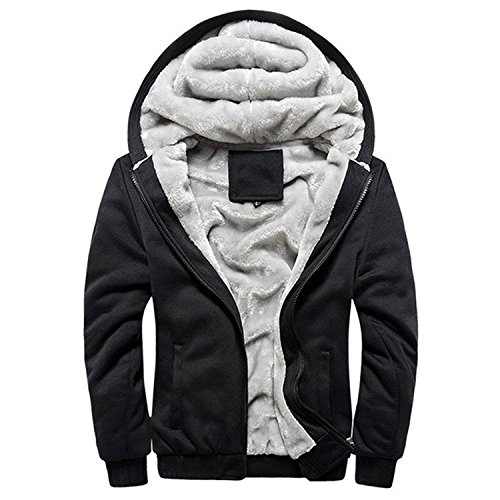 Minetom Herren Winter Warm Vlies Gefüttert Kapuzenpullover Baumwolle Mäntel Weich Jacken Sweatshirts Mit Kapuze Outwear (EU L, Schwarz)