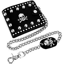 ASEOK Cuero cool punk gothic western skull biker monedero cartera con cadena para hombre