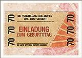 Im 5er Set: Party Einladungskarte zum 70. Geburtstag im coolen Ticket Look: Die Vorstellung des Jahres - Das wird gefeiert! Einladung zum Geburtstag