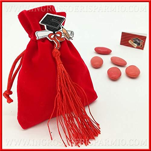 Ingrosso e risparmio 12 sacchetti per confetti rossi in velluto con tocco in legno e nappa rossa, confettata, bomboniere fai da te laurea (senza confezionamento)