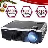 Proyector, WiMiUS Video Proyector 3800 Lúmenes Full HD Soporta 1080P Proyector Cine en Casa 50000 Horas Proyectores HD Compatible con Smartphone/Tablets/ TV Stick/ PS4/ Xbox -Blancho