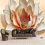 Guyuell Benutzerdefinierte Wandbild Tapete 3D Stereo Relief Lotus Blumen Fotowandpapier Wohnzimmer Tv Sofa Hintergrund Wandmalerei Wohnkultur 3 D-300Cmx210Cm
