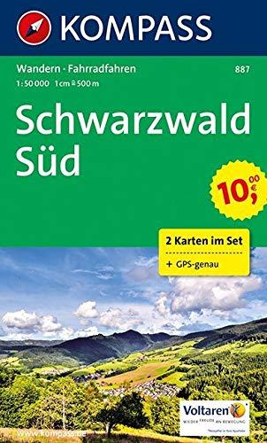 KOMPASS Wanderkarte Schwarzwald Süd: Wanderkarten-Set mit Radrouten. GPS-genau. 1:50000: 2-delige Wandelkaart 1:50 000 (KOMPASS-Wanderkarten, Band 887)