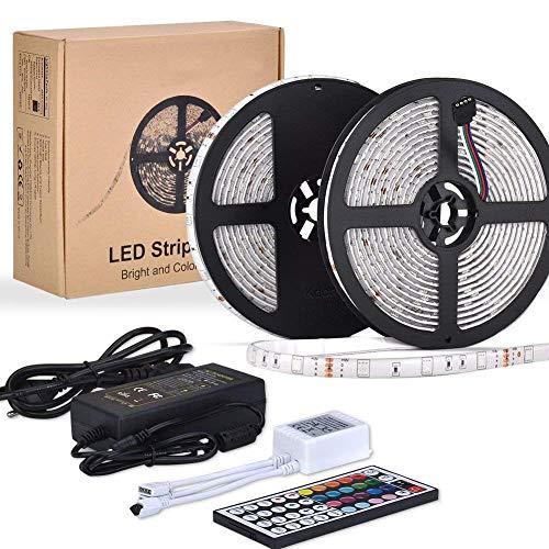 LED Stripes 10 m Streifen   Led Lichtleiste rgb led Strip 300 LED Wasserdicht   Lichterband mit Fernbedienung   Perfekt für den Innen- und den Außenbereich   Dekoration mit indirekter Beleuchtung