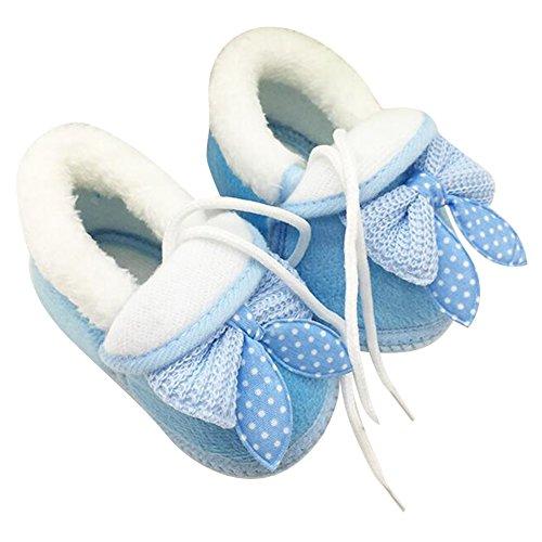 Highdas Newborn Infant Bébé Toddler Girls Réchauffez Bow Raquettes Bébé Walker Crib Bottes Bleu