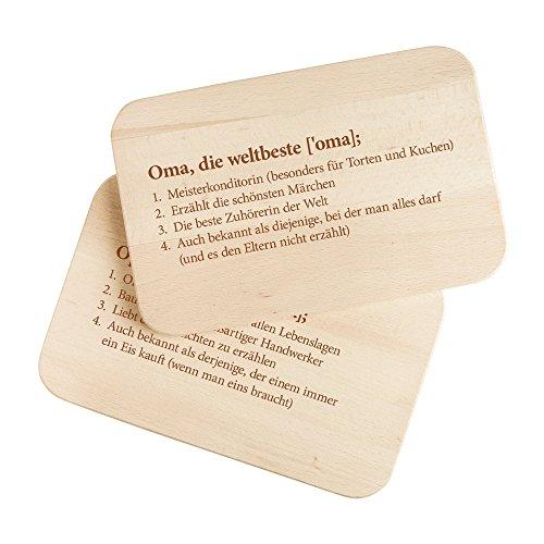 """2er Set Frühstücksbrettchen aus Holz mit Gravur """" Definition Oma """" und """" Definition Opa """"- ca. 23 x 15 x 1 cm - STANDARD - Perfektes Geschenk für Oma und Opa - Brettchen Set aus Holz mit Namen und Sprüchen"""