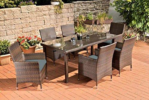 Gartenmöbel, Gartenmöbel-Set, Sitzgarnitur Florenz, eisengrau / braun-meliert, Polyrattan-Aluminium-Gestell, Gartengarnitur, Sitzgruppe