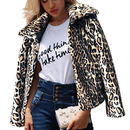 Damen Winter Mantel Pluse Size Sweatshirt Oberseiten Rosennie Mode Leopard Druck Trench Coat Softshell Jacke Wintermantel Warm Revers Parka Jacke Trenchcoat Outdoorjacke (Schwarz,S) Leopard Print Trench