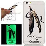 ISAKEN Custodia iPhone 6 Plus, iPhone 6S Plus Case Cover, Agganciabile Luminosa Caso con Lampeggiante Ultra Sottile Morbido TPU Gel Silicone Protettivo Custodia- Dream Piuma