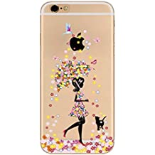 Para iPhone 7Plus/ iPhone 8 Plus Carcasa ,Moda Pájaro Mariposa Chica Flor Gatos Transparente