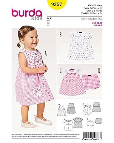 Burda 9357 Schnittmuster Kleid & Höschen mit Bubikragen (Baby, Gr. 62 - 92) Level 2 leicht