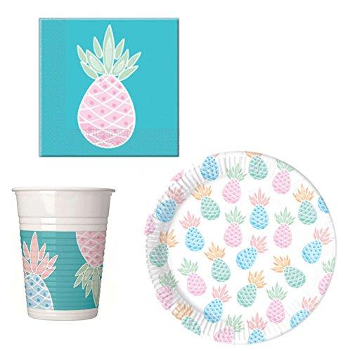 52 Teile Party-Geschirr Set Ananas Garten-Party - Teller Becher Servietten für 16 Personen Garten Teller