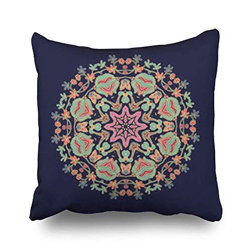 Zcfhike Throw Kissen Covers Arabesque Ornamental Rosette Christmas On Dark Abstract Kissenslip Square Size 18 x 18 Inches Cushion Cases Kissencases -