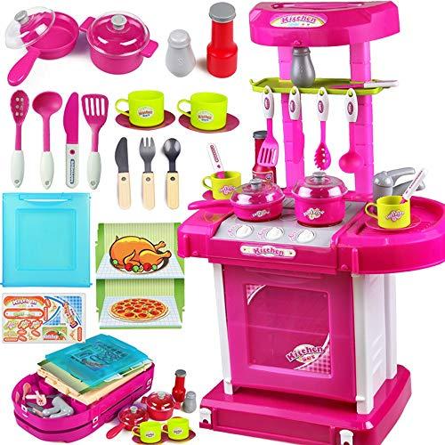 Xyanzi Kinderspielzeug Kinder Küche Spielzeug Set Mädchen Jungen Simulation Mini Küchengeschirr Dress Up Spiel Trolley Kochen Spielzeug (Farbe : Pink) (Pink Up Dress Spielen)