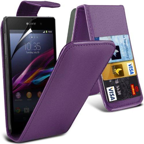 -purple-sony-xperia-z1-compact-high-quality-faux-cubierta-y-lcd-protector-de-pantalla-caja-de-la-pie