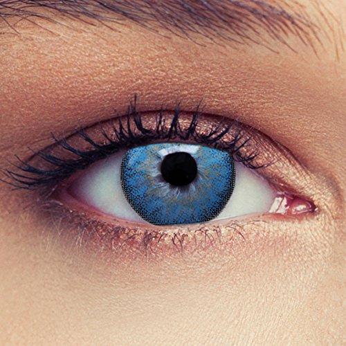 """Designlenses 2 Blaue Kontaktlinsen mit Stärke ozeanblaue Drei Monatslinsen für einen natürlichen Effekt, geeignet für dunkle Augen + Gratis Behälter\""""Dimension Aqua\"""" -1,75"""