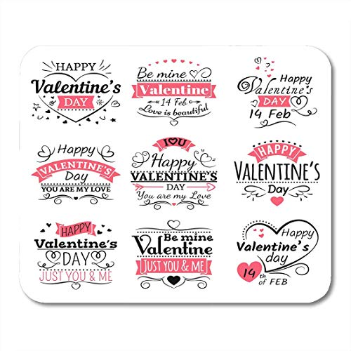 Deglogse Gaming-Mauspad-Matte, Red Adult Black Love Valentines Day Ribbon and Vintage Lettering Line Labels Pink Wedding Arrow Mouse Pad,Desktop Computers Mouse Mats,