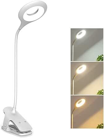 Buchlampen USB Wiederaufladbar Klemmleuchte 5 Helligkeit Dimmbar 360/° Flexibel Klemmlampe Augenschutz Bernstein Nachttischlampe Nachttischlampe Leselampe,16 LED klemmlampe bett