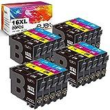 ejet 16XL Cartuccia d'inchiostro Compatibile per Epson 16 XL per Epson Workforce WF-2630 WF-2510 WF-2760 WF-2530 WF-2520 WF-2540 WF-2750 WF-2660 WF-2650 WF-2010 (8 Nero/4 Ciano/4 Magenta/4 Giallo) ¡