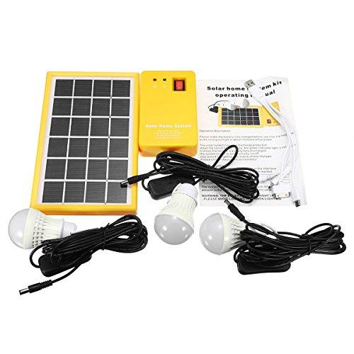 Solar-Power-Panel-Generator-Set, 5 V, USB-Ladegerät mit 3 LED-Leuchtmitteln -