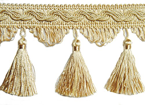 Quastenborte Meterware Breite 80 mm / Farbe Light Gold Sand Posamentenborte Fransenborte m.Quasten m.Troddeln Dekoborte Vorhangborte Bordüre Jugendstil Barock
