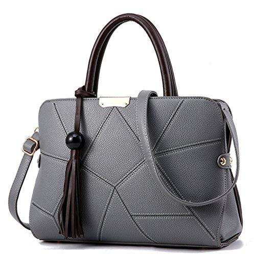 Xinmaoyuan Borse donna Lychee borsette Pu Borsa da donna grande pacchetto di Capacità sacchetto con striping Grigio