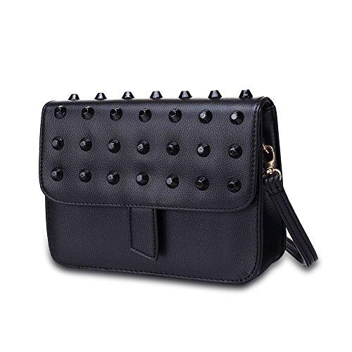 iLove EU Damen Leder Handtasche Schultertasche Umhängetasche Messenger Bag Tasche Nieten Ahle Taper Fashion Mode Farbe: Schwarz
