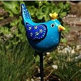 Handgefertigter Gartenstecker aus wetterfester Keramik, Zaunkönig