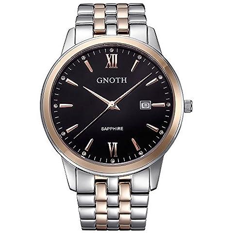 Gnoth pour homme Unique Quartz Analogique Or rose Business Casual montre bracelet avec bracelet en acier inoxydable et calendrier