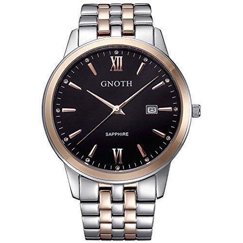GNOTH Herren Rose Gold Analog Quarz Wasserdicht Saphirglas Uhr mit Datum und Edelstahl Armband