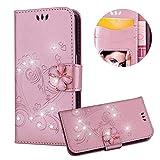 Rose Gold Brieftasche für Samsung Galaxy S7 Edge,Strass Handyhülle für Galaxy S7 Edge,Moiky Luxus Liebe Herze Muster 3D Schmetterling Dekor Magnetisch Kunstleder Stoßdämpfende Handytasche mit TPU