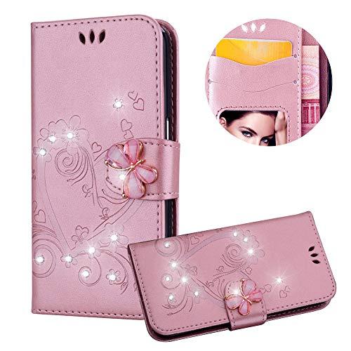 Rose Gold Brieftasche für iPhone 8,Strass Handyhülle für iPhone 7,Moiky Luxus Liebe Herze Muster 3D Schmetterling Dekor Magnetisch Kunstleder Stoßdämpfende Handytasche mit TPU