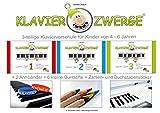 3-teilige Klavierschule für Kinder ab 4 Jahre, Inhalt: 3 Notenbücher, 2 Silikon-Armbänder, 6 Buntstifte, 4x Zahlen- und Buchstaben-Sticker für Finger und Tasten