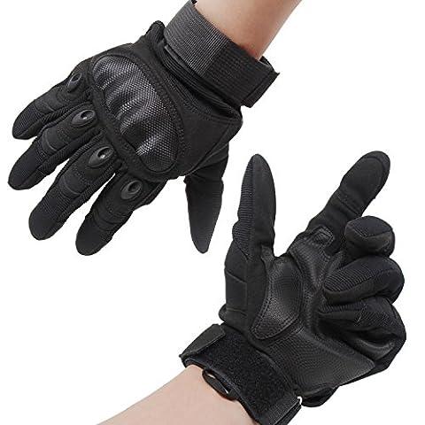 Xcellent Global Gants doigts entiers, protection pour les articulations difficiles, gants blindés pour paintball, airsoft, pour le motocross, le jeu de guerre et le vélo , taille XL, Noir