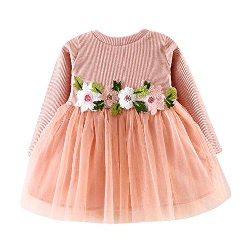 Kobay Kleinkind Baby Kind Mädchen Lange Ärmel gestrickt Bow Newborn Tutu Prinzessin Kleid 0-24M (100/18-24Monat, S-Rosa)