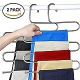 Kleiderbügel Hosenbügel Mehrfach Edelstahl Magic S-Type Platzsparend für hängende Schal Jeans Hose (2 STK)