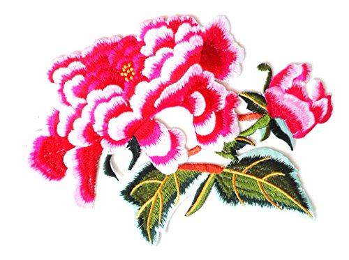 fundiy ethnischen Kostüm Kleidung Hose Große Blume Floral Stickerei Bügelbild Aufnäher Patches DIY Nähen Craft Burgund