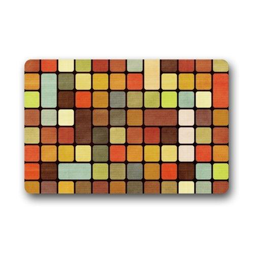 Beautiful & Colorful Cube Mosaic 23.6 X 15.7 Inch Home Fashion Rectangle non-woven fabric Custom Doormat Machine-washable Non-Slip Rug