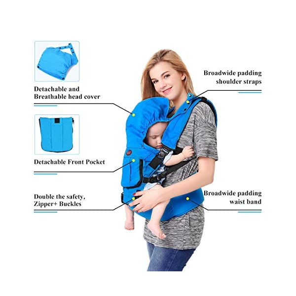 Baby Carrier Front and Back Hip Seat Newborn to Toddler Multiple-position with Detachable Sleeping Hood and Pocket Breathable for All Seasons  Multiple Carrying Positions: Baby on the front, on the back and on the hips; Suitable from newborn to toddler (3-36 months)from 7 to 44 lbs (3 - 20 kg) Comfortable & Breathable Material: Made with high quality cotton that is comfortable and cozy for your baby. All Seasons: Detachable front pocket can handle different weather conditions and make your baby feeling cool in summer, warm in winter and comfortable in spring and autumn. 3