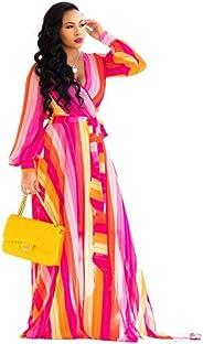 فستان طويل شيفون طويل الأكمام من الشيفون الشاطئي الاستوائي للسيدات من LYB مع حزام 4624