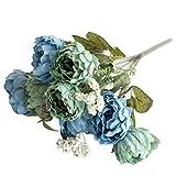 Azul RoadRoma 5 Cabezas de peon/ía Especial Ramo de Novia Flores Artificiales Ramo de la Boda