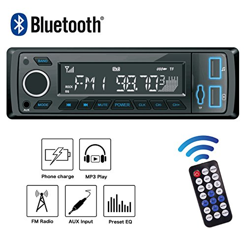 POMILE Autoradio Bluetooth MP3, Single Din Auto Audio Stereo FM Radio Groß Display 12V mit Fernbedienung FM USB/SD/AUX (Din Single Bluetooth Car Stereo)