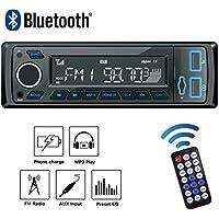 POMILE Autoradio Bluetooth MP3, Single Din Auto Audio Stereo FM Radio Groß Display 12V mit Fernbedienung FM USB/SD/AUX
