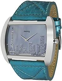 Moog Paris Skyline Reloj para Mujer con Esfera Azul, Correa Azul de Piel Genuina y Cristales Swarovski - M41882-006