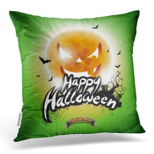 Throw Pillow Covers Happy Halloween Bats Moon On Green Holiday Design for Greeting Decor Pillowcases Polyester 18 X 18 Inch Inch Square Hidden Zipper Home Cushion Decorative Pillowcase (Halloween Happy Stitch)