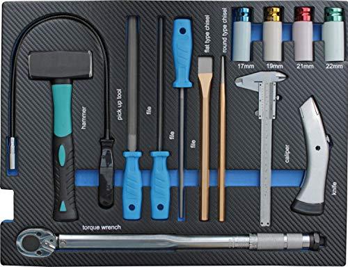 Werkzeugeinleger mit Carbonoptik mit Feilen, Meißel, Fäustel, Drehmomentschlüssel |...